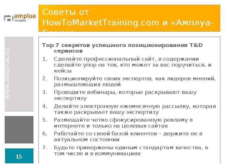 Советы от HowToMarketTraining. com и «Амплуа-Брокер» Top 7 секретов успешного позиционирования T&