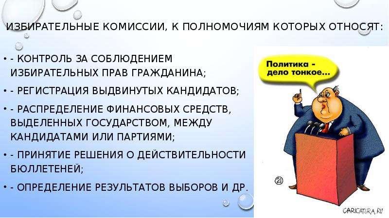 избирательные комиссии, к полномочиям которых относят: - контроль за соблюдением избирательных прав