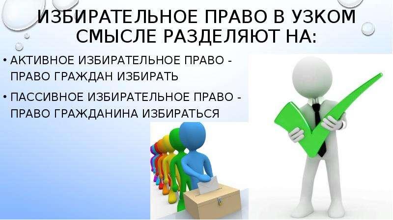 Избирательное право в узком смысле разделяют на: активное избирательное право - право граждан избира