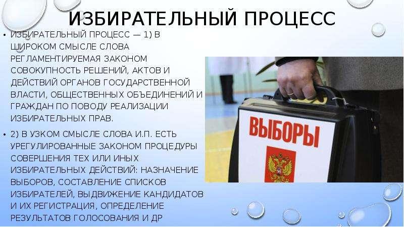 Избирательный процесс ИЗБИРАТЕЛЬНЫЙ ПРОЦЕСС — 1) в широком смысле слова регламентируемая законом сов
