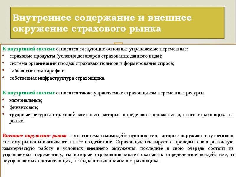 Внутреннее содержание и внешнее окружение страхового рынка К внутренней системе относятся следующие