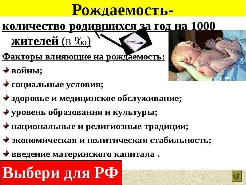 Рождаемость- количество родившихся за год на 1000 жителей (в ‰) Факторы влияющие на рождаемость: вой