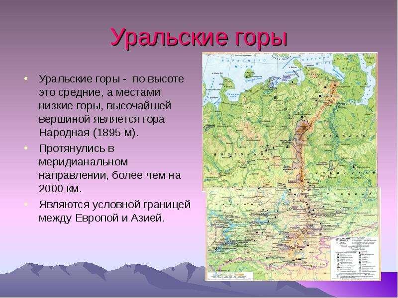 Где находится уральские горы на карте