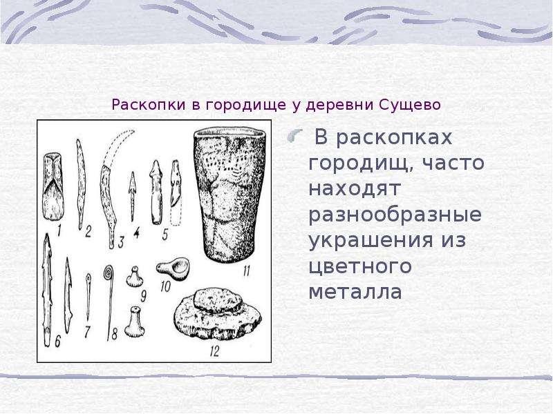 Раскопки в городище у деревни Сущево В раскопках городищ, часто находят разнообразные украшения из ц