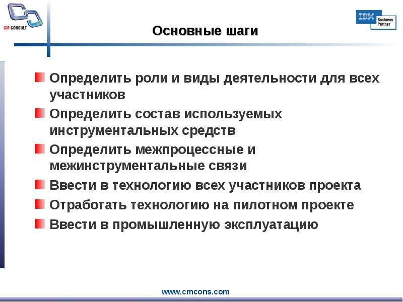 Основные шаги Определить роли и виды деятельности для всех участников Определить состав используемых
