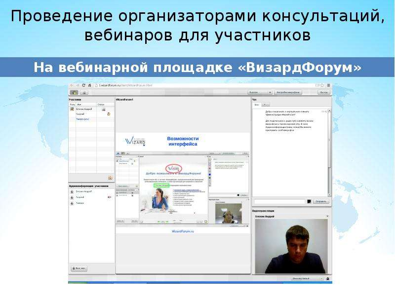 Проведение организаторами консультаций, вебинаров для участников