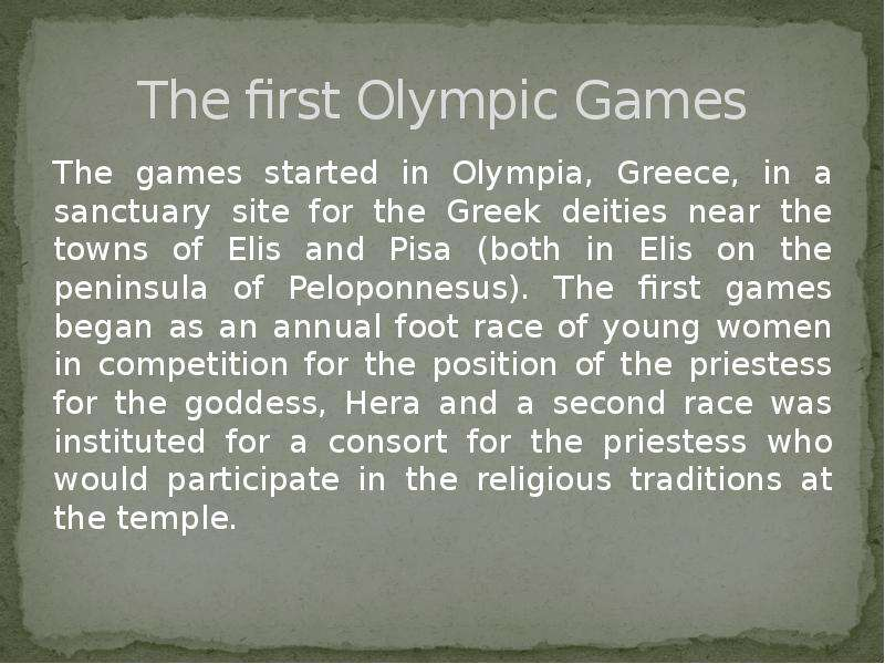 a history of first olympic games in ellis Access official videos, photos and news from all summer, winter, past and future olympic games - london 2012, sochi 2014, rio 2016, pyeongchang 2018.