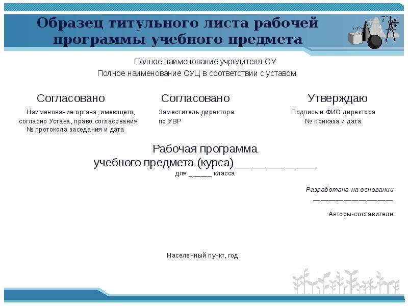 Образец титульного листа рабочей программы учебного предмета