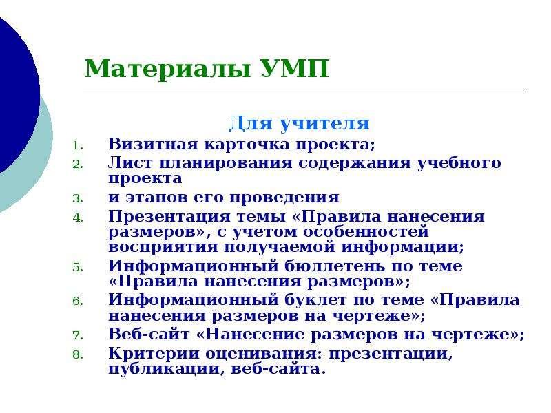 Материалы УМП Для учителя Визитная карточка проекта; Лист планирования содержания учебного проекта и