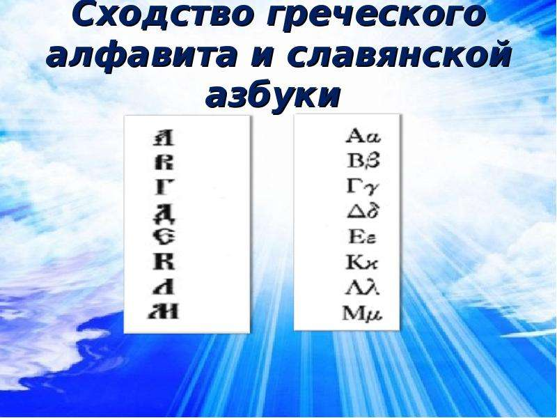 Сходство греческого алфавита и славянской азбуки