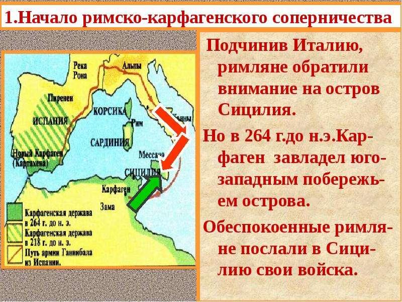 1. Начало римско-карфагенского соперничества В то время как Рим стал самым могущественным государств