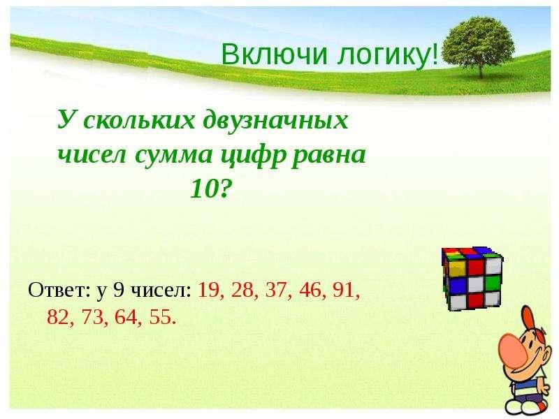 Включи логику! У скольких двузначных чисел сумма цифр равна 10? Ответ: у 9 чисел: 19, 28, 37, 46, 91