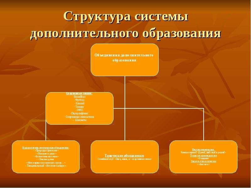 Структура системы дополнительного образования