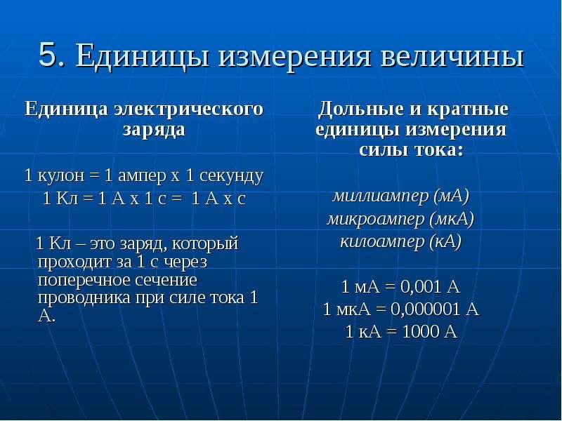 5. Единицы измерения величины Дольные и кратные единицы измерения силы тока: миллиампер (мА) микроам