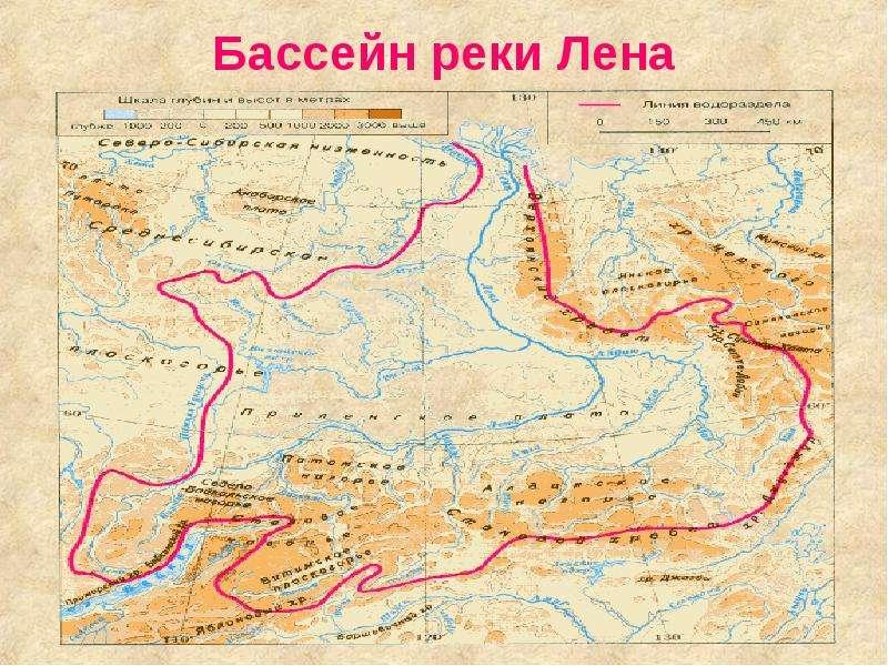 Где находится на карте река лена