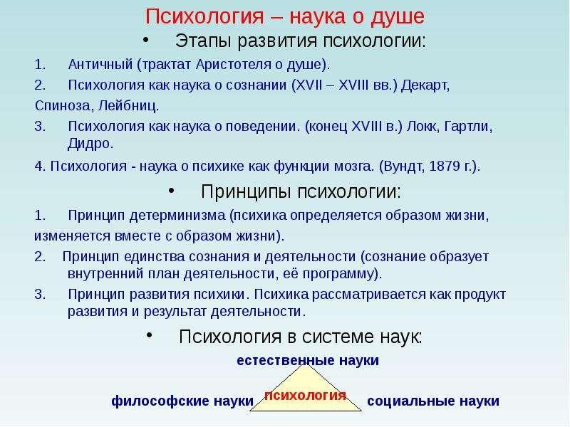 Психология – наука о душе Этапы развития психологии: Античный (трактат Аристотеля о душе). Психологи