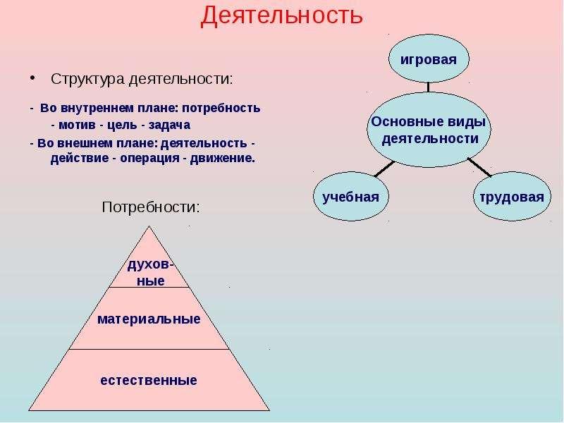 Деятельность Структура деятельности: - Во внутреннем плане: потребность - мотив - цель - задача - Во