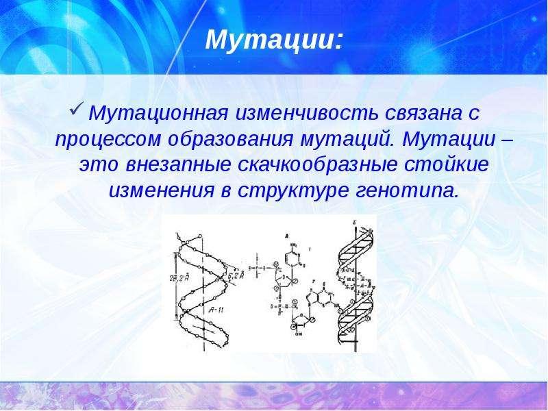 Мутации: Мутационная изменчивость связана с процессом образования мутаций. Мутации – это внезапные с
