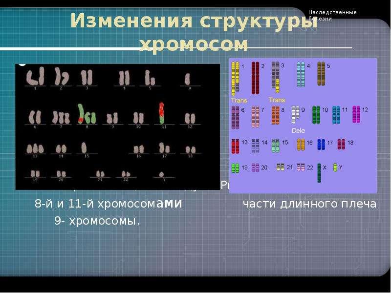 Изменения структуры хромосом Рис. 1. Транслокации между Рис. 2. Делеция 8-й и 11-й хромосомами части