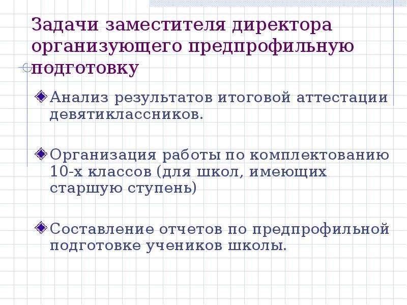 Задачи заместителя директора организующего предпрофильную подготовку Анализ результатов итоговой атт