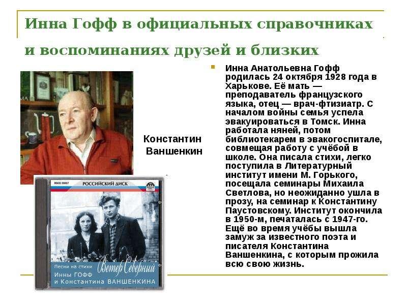 Инна Гофф в официальных справочниках и воспоминаниях друзей и близких Инна Анатольевна Гофф родилась 24 октября 1928 года в Харьков