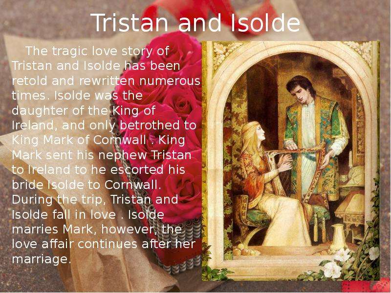tristan and isolde essay Tristan and isolt's conflict of love and loyalty is one of the classic tales of western literature in the arthurian tradition, their tragic tragectory rivals and complements that of lancelot and guinevere.