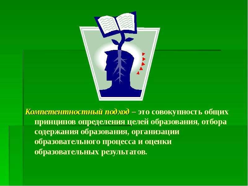 Компетентностный подход – это совокупность общих принципов определения целей образования, отбора сод