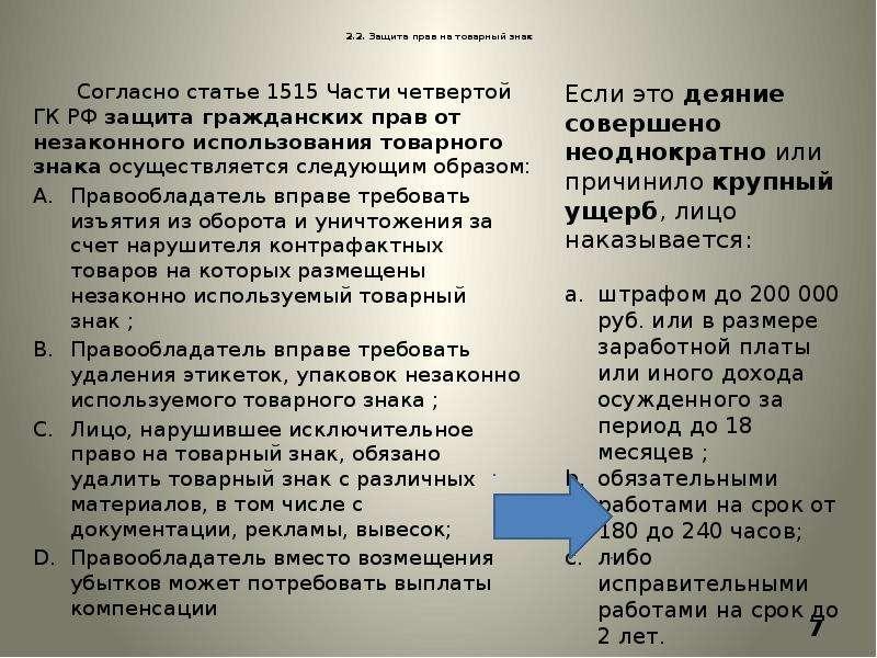 2. 2. Защита прав на товарный знак Согласно статье 1515 Части четвертой ГК РФ защита гражданских пра