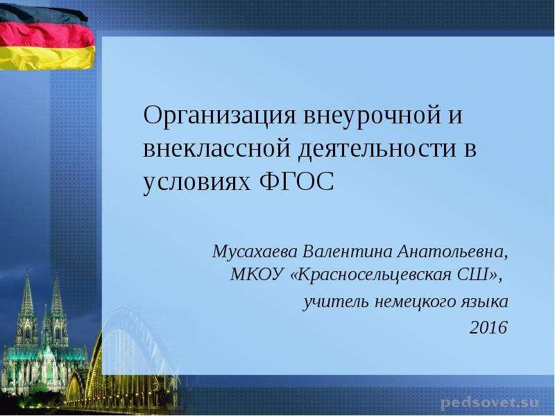 Презентация Организация внеурочной и внеклассной деятельности в условиях ФГОС