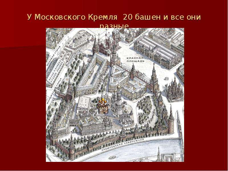 У Московского Кремля 20 башен и все они разные