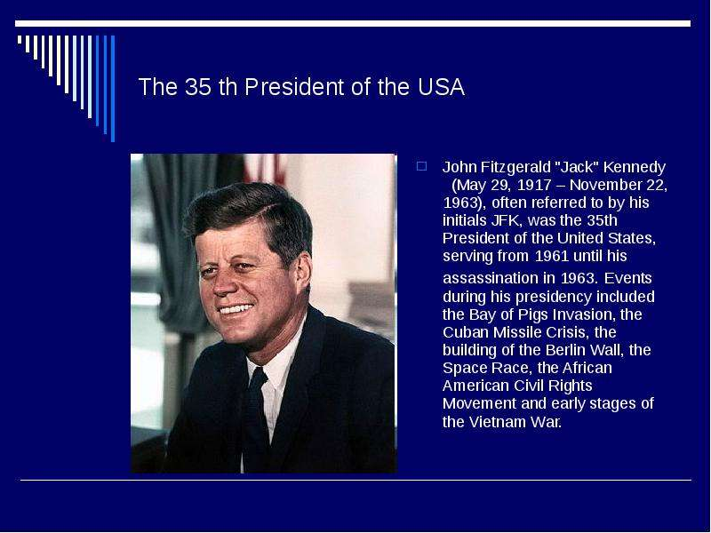 an overview of the john f kennedys assassination 35th president of the united states of america