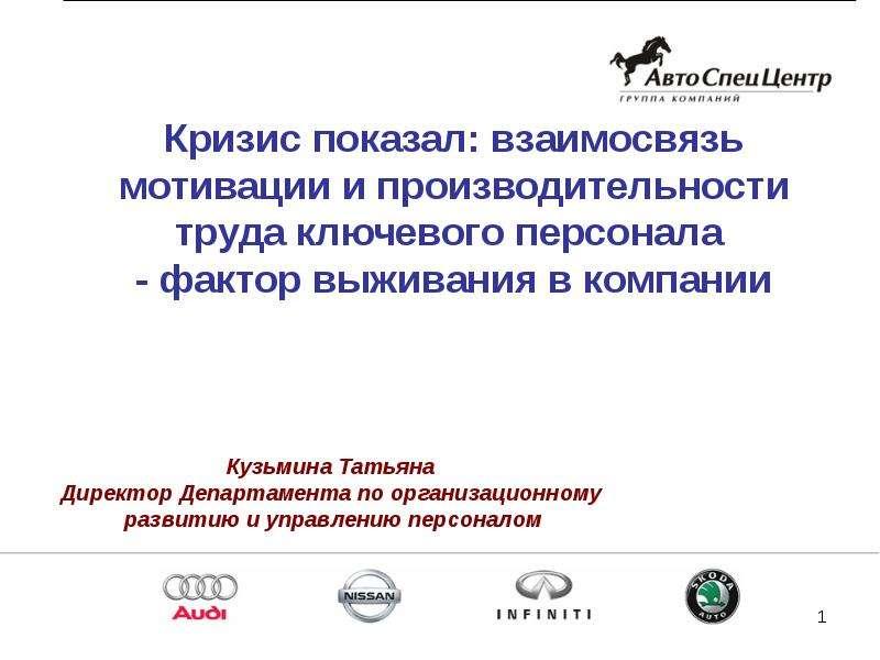"""""""Взаимосвязь мотивации и производительности труда ключевого персонала"""" - презентации по Экономике"""