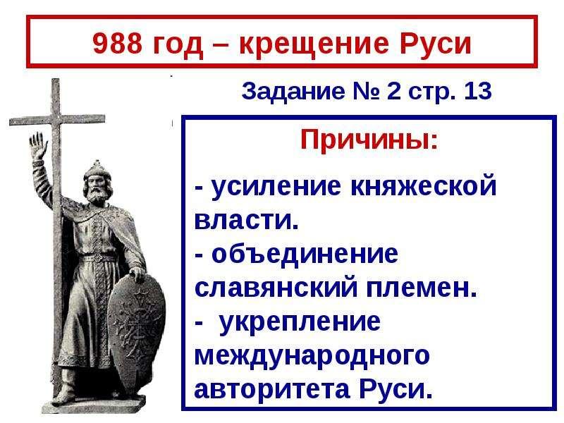 988 год – крещение Руси Причины: