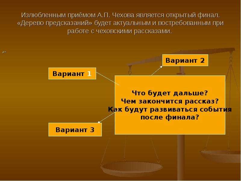 Излюбленным приёмом А. П. Чехова является открытый финал. «Дерево предсказаний» будет актуальным и в