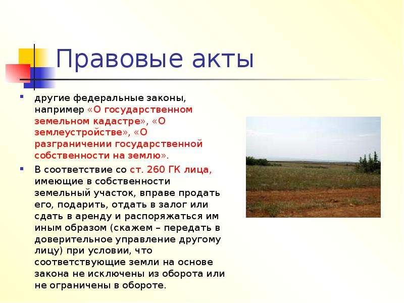 Правовые акты другие федеральные законы, например «О государственном земельном кадастре», «О землеус