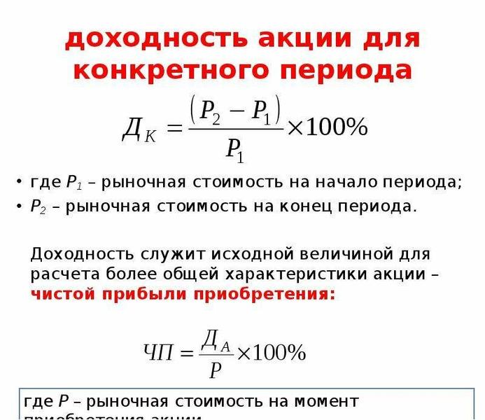доходность акции для конкретного периода где Р1 – рыночная стоимость на начало периода; Р2 – рыночна