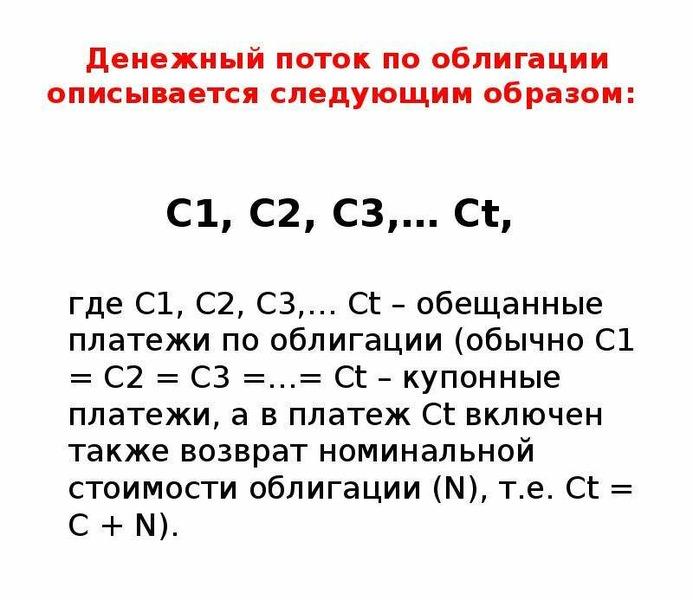 Денежный поток по облигации описывается следующим образом: С1, C2, C3,… Ct, где С1, C2, C3,… Ct – об