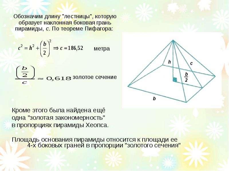 Размеры пирамиды золотое сечение своими руками 91