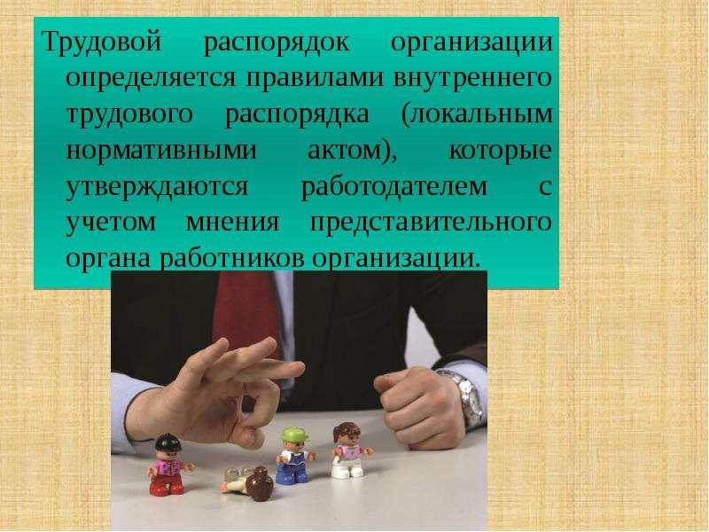 Трудовой распорядок организации определяется правилами внутреннего трудового распорядка (локальным н