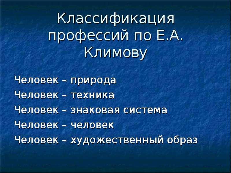 Классификация профессий по Е. А. Климову Человек – природа Человек – техника Человек – знаковая сист