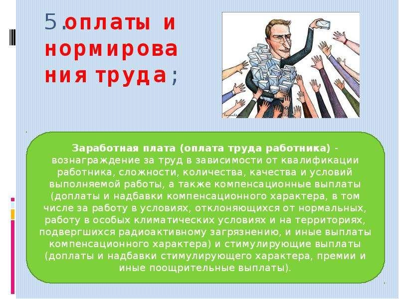 5. оплаты и нормирования труда;