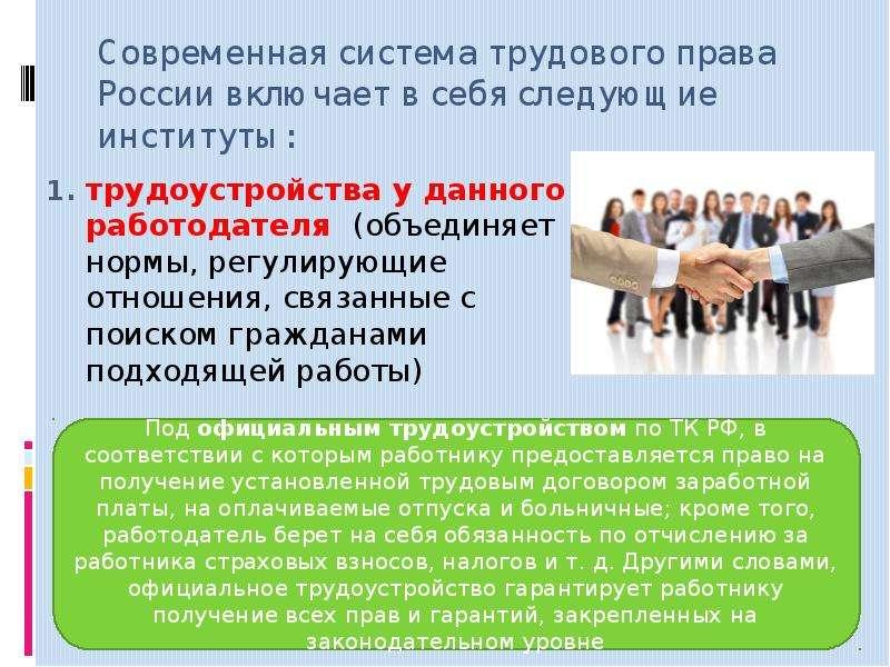 Современная система трудового права России включает в себя следующие институты: трудоустройства у да