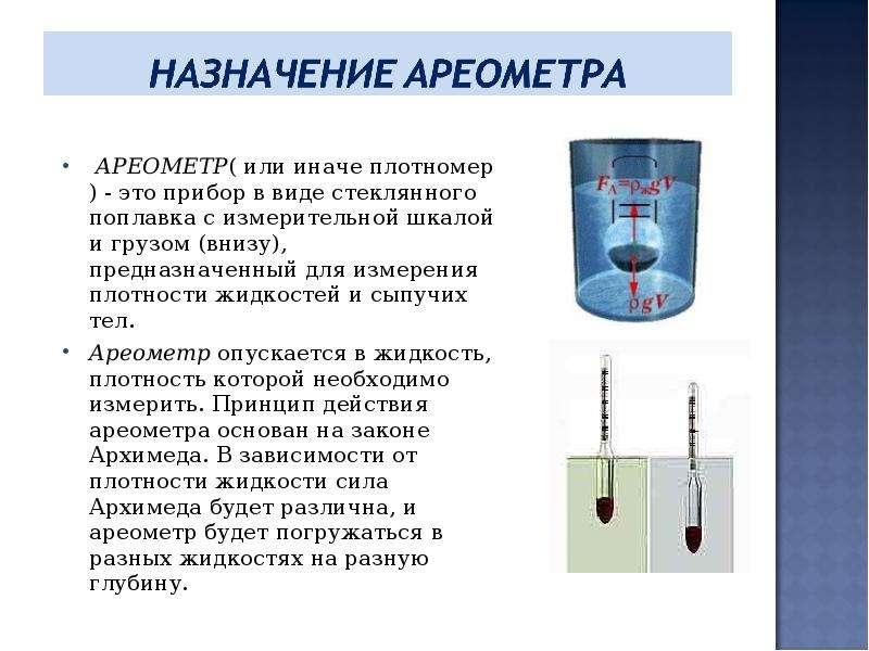 Картинка ареометра в жидкости
