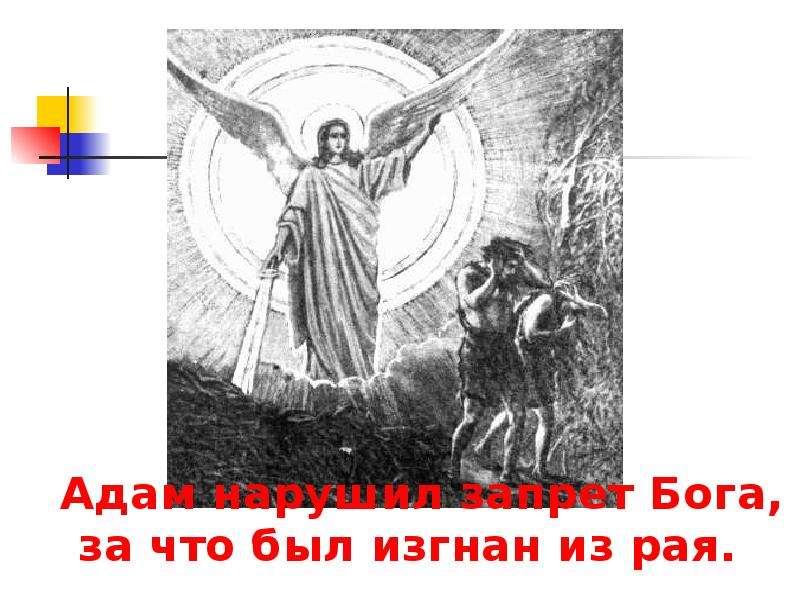 Адам нарушил запрет Бога, за что был изгнан из рая. Адам нарушил запрет Бога, за что был изгнан из р