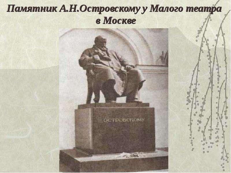 Памятник А. Н. Островскому у Малого театра в Москве