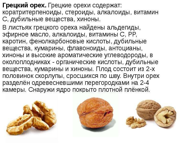 Грецкий орех. Грецкие орехи содержат: коратритерпеноиды, стероиды, алкалоиды, витамин С, дубильные в