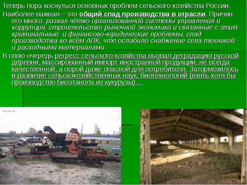 Теперь пора коснуться основных проблем сельского хозяйства России. Теперь пора коснуться основных пр