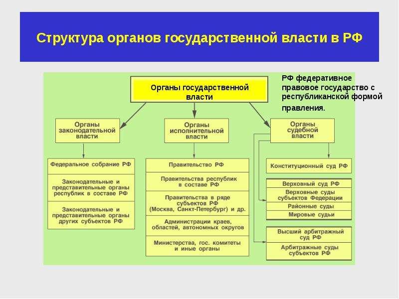 Структура органов государственной власти в РФ