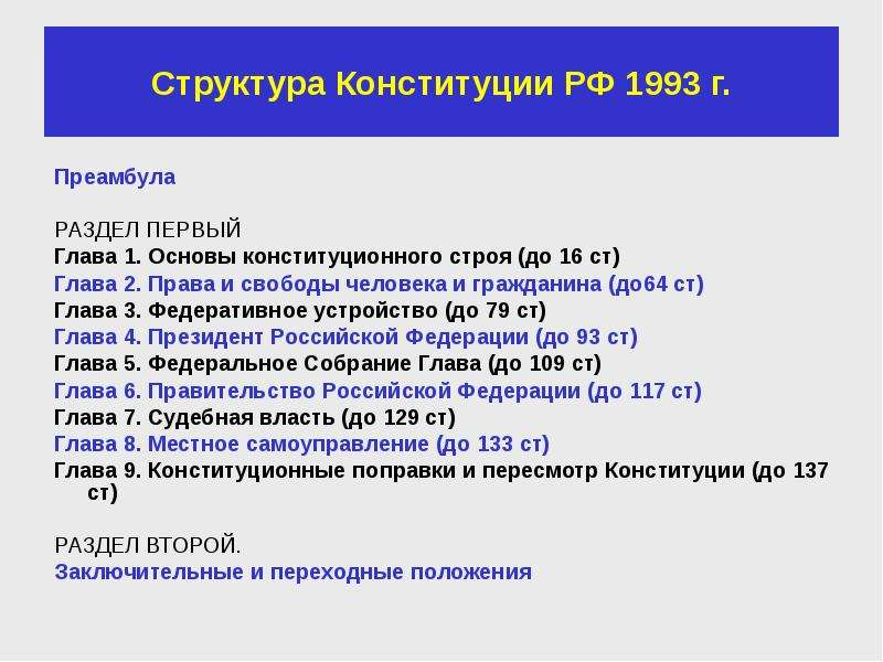 Структура Конституции РФ 1993 г. Преамбула РАЗДЕЛ ПЕРВЫЙ Глава 1. Основы конституционного строя (до
