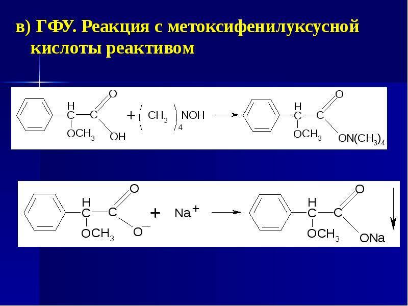 в) ГФУ. Реакция с метоксифенилуксусной кислоты реактивом в) ГФУ. Реакция с метоксифенилуксусной кисл